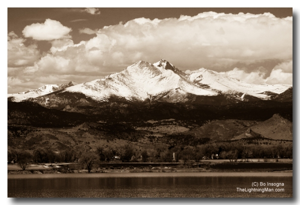Mt Meeker 13,911' and Longs Peak 14,255'  Sepia Image