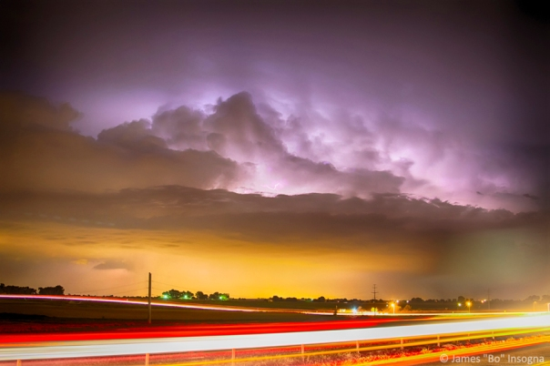 25 to 34 Intra-Cloud Lightning Golden Light Car Trails