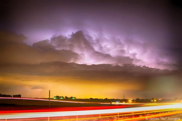 25 to 34 Intra-Cloud Lightning Golden Light Car Trails