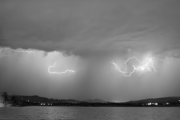 Lightning and Rain Over Rocky Mountain Foothills BW