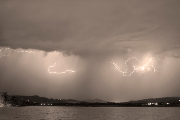 Lightning and Sepia Rain Over Rocky Mountain Foothills
