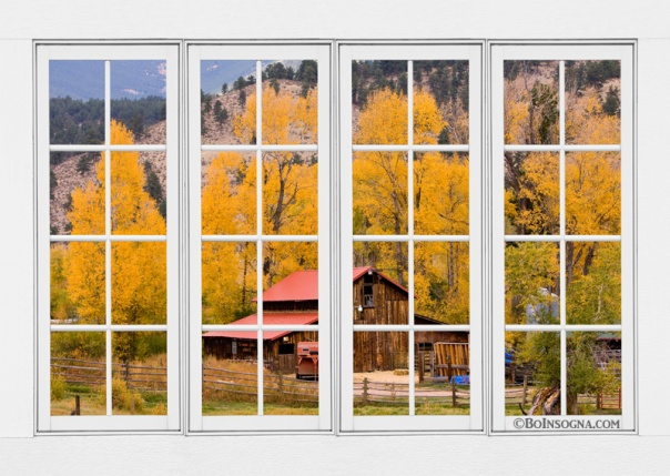 Rocky Mountain Autumn Ranch White Window View