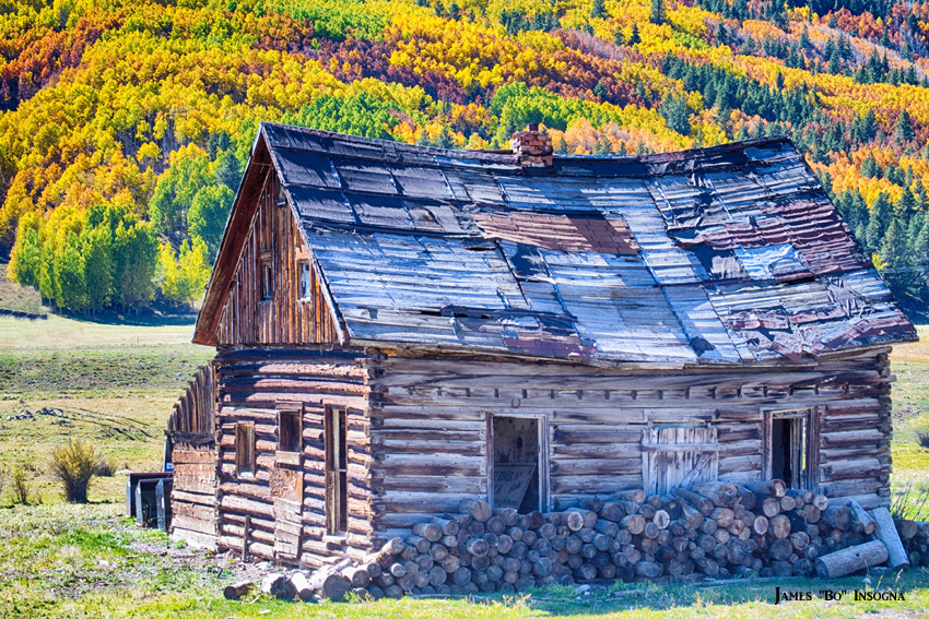 Rocky Mountain Rural Rustic Cabin Autumn View Striking
