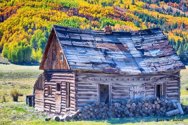 Rocky Mountain Rural Rustic Cabin Autumn View