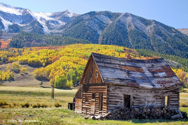 Rustic Rural Colorado Cabin Autumn Landscape The