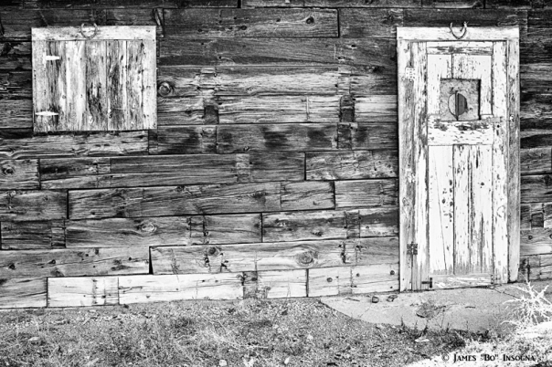 Rustic Old Colorado Barn Door and Window BW