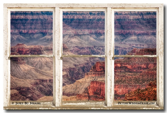 Rustic Window View Into The Grand Canyon