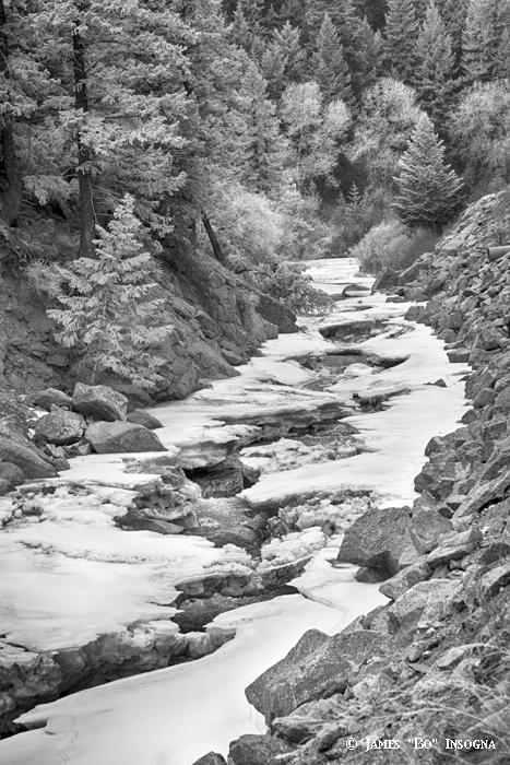 Frozen Boulder Creek Boulder Canyon Colorado BW - James Bo Insogna