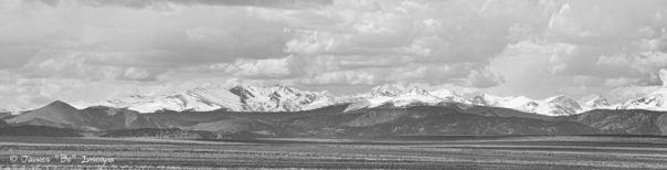 Colorado Front Range Rocky Mountain Agriculture Panorama BW