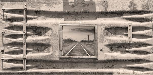Looking Back Sepia Railroad Panorama