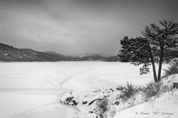 Nederland Colorado Barker Reservoir Winter View BW