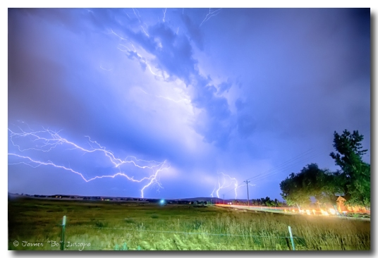 75th and Woodland Lightning Thunderstorm View HDR