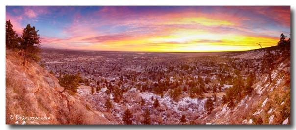 Boulder Colorado Colorful Sunrise Wide Panorama View