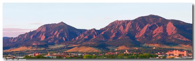 Boulder Colorado Flatirons 1st Light Panorama