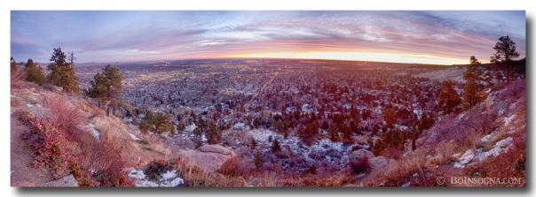 Boulder Colorado Colorful Dawn City Lights Panorama