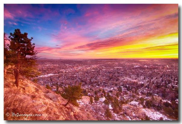 Boulder Colorado Colorful Sunrise City View