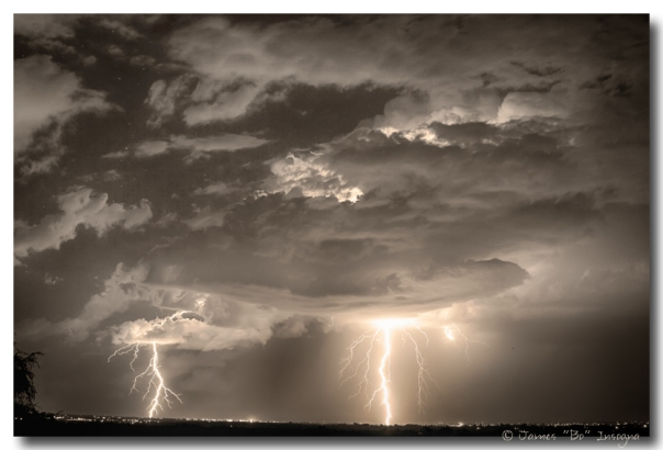 Double Lightning Strikes in Sepia HDR