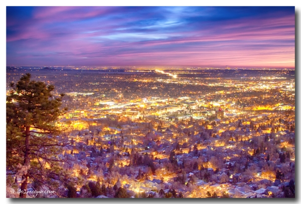 Downtown Boulder Colorado City Lights Sunrise - James Bo Insogna