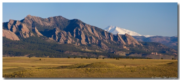 Flatirons and Snow Covered Longs Peak Panorama