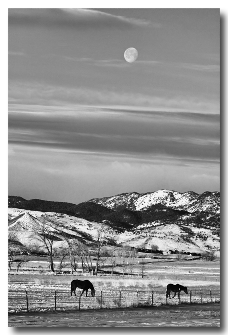Full Moon on the CO Front Range BW