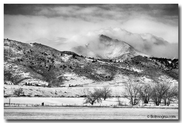 Meeker and Longs Peak in Winter Clouds BW  Stretched Canvas Print / Canvas Art Buy Poster