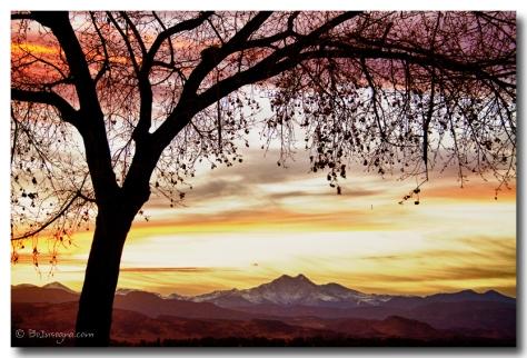 Colorful November Sunset Sky and Longs Peak