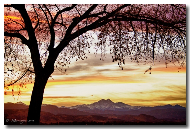 Colorful November Sunset Sky and Longs Peak