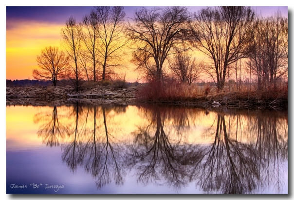 Pella Crossing Sunrise Reflections HDR