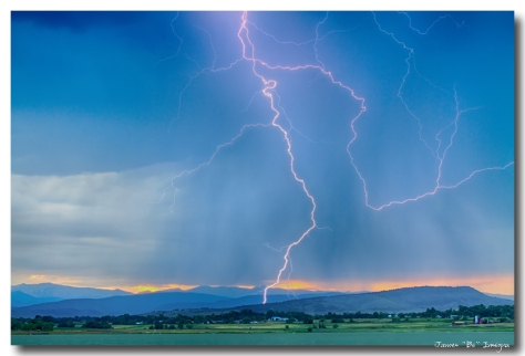 Rocky Mountain Foothills Lightning Strikes HDR