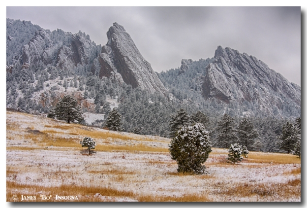 Snow Dusted Flatiron View Boulder Colorado
