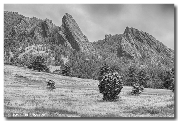 Snow Dusted Flatiron View Boulder Colorado BW