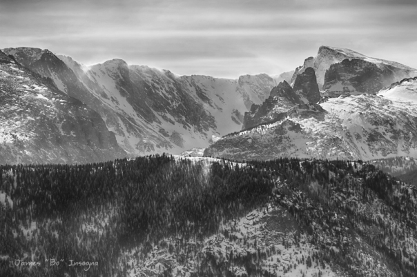Continental Divide CO Rocky Mountains National Park BW Art Print