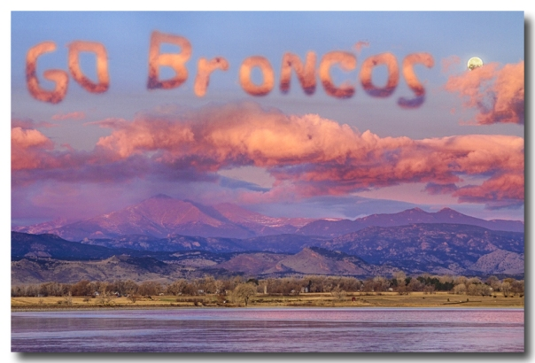 Go Broncos Colorado Front Range Longs Moon Sunrise - James Bo Insogna