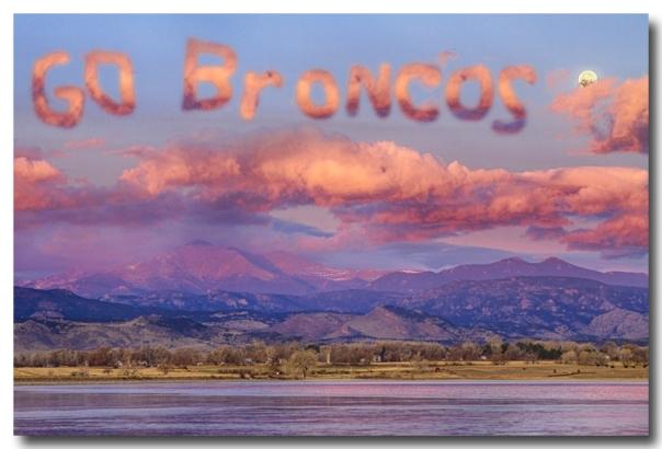 Go Broncos Colorado Front Range Longs Moon Sunrise - James Bo Insogna