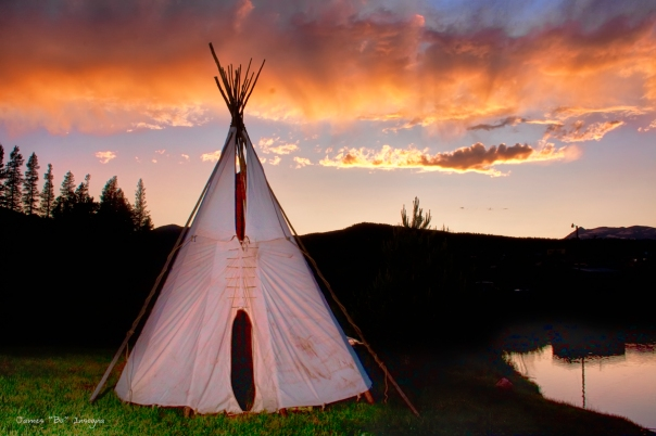 Art Print Indian Teepee Sunset