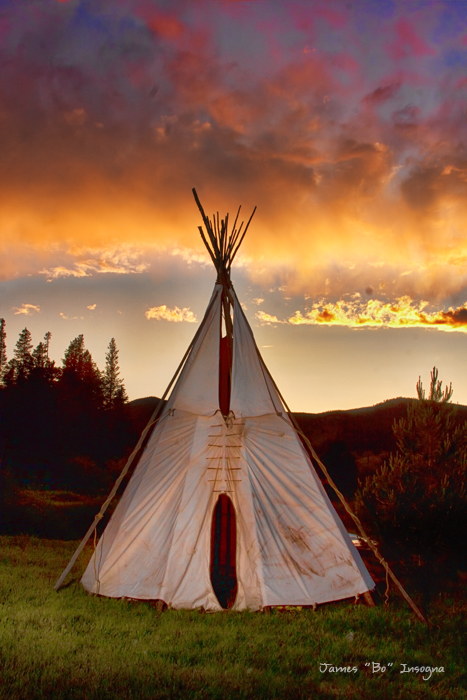 Teepee Sunset Portrait Art Print