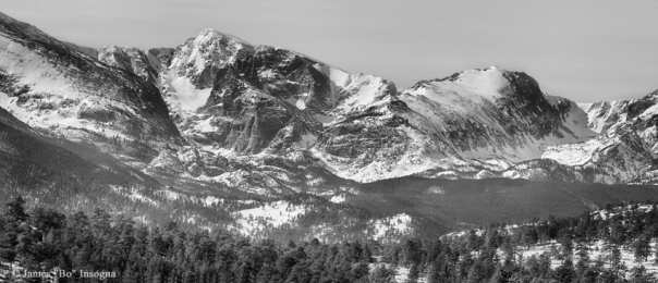 Ypsilon Mountain and Fairchild Mountain Panorama RMNP BW  Acrylic Print