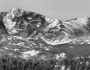 Ypsilon Mountain and Fairchild Mountain Panorama RMNP BW