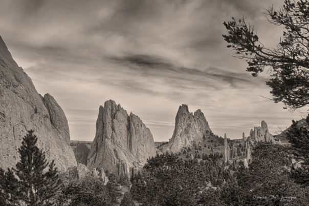Colorado Garden of the Gods Mono Tone View Art Print