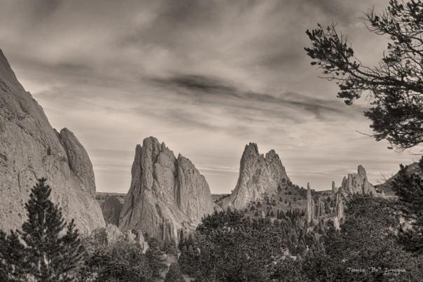 Colorado Garden of the Gods Mono Tone View Art Print