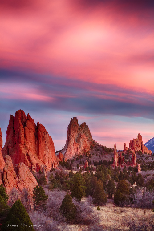 Garden of the Gods Sunset Sky Portrait