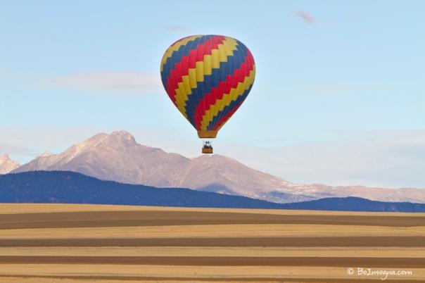 Hot Air Balloon and Longs Peak