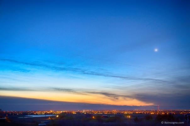 City Lights and a Venus Morning Sky