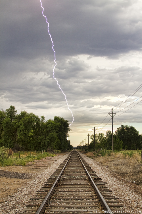 Lightning Striking By The Train Tracks