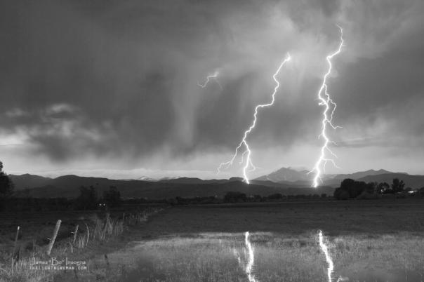 Lightning Striking Longs Peak Foothills BW