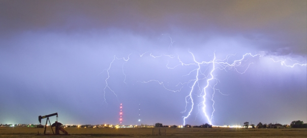 Oil Well Pumpjack Thunderstorm Panorama