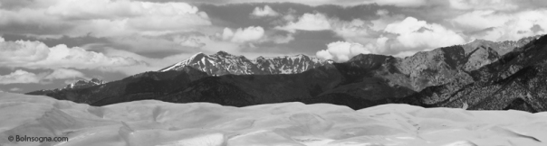 The Great Sand Dunes and Sangre de Cristo Mountains Panorama BW