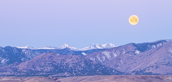 Full Moon Setting Over The Colorado Rocky Mountains Art