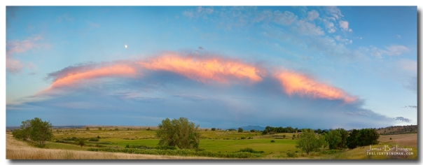 Sunset Storm and Moon from Longmont to Boulder CO Panorama