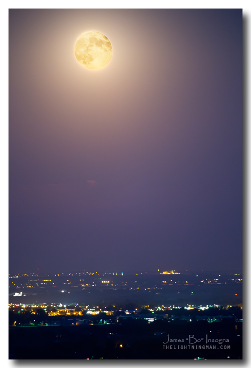 Full Moon Over City Lights Art Print